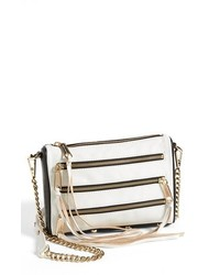 Rebecca Minkoff 5 Zip Mini Two Tone Leather Crossbody Bag Black White