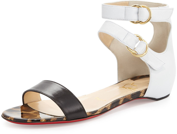 best authentic 9c464 1cc3d $795, Christian Louboutin Tres Bea Red Sole Flat Sandal Blackwhite