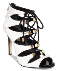 Guess Legari Studded Lace Up Dress Sandals Shoes