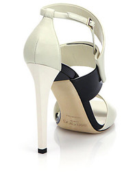Jason Wu Bicolor Leather Buckle Sandals White Where To