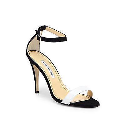 f263e6540e5 ... Manolo Blahnik Chaos Bicolor Leather Suede Ankle Strap Sandals Black  White