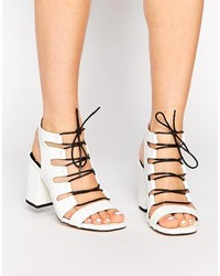 Senso Rhiannon White Leather Croc Heeled Sandals