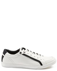White and Black Leather Low Top Sneakers