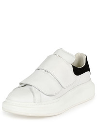 Alexander McQueen Leather Grip Strap Low Top Sneaker Whiteblack