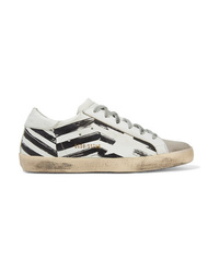 Golden Goose Deluxe Brand Distressed Printed Leather And Suede Sneakers