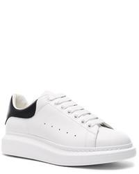 Alexander McQueen Leather Platform Low Top Sneakers In White