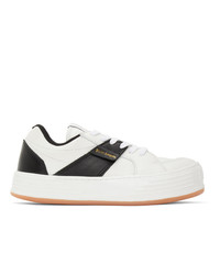Palm Angels White And Black Logo Sneakers