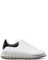 Alexander McQueen White Black Snake Clear Sole Oversized Sneakers