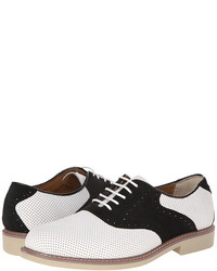 White and Black Leather Oxford Shoes