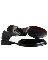 Majestic Collection Dress Shoes Wingtip Oxford Lace Up Black White Shoes