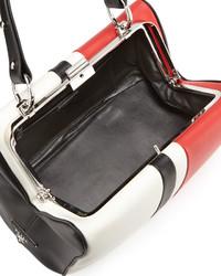 554efdc91a15 ... Prada Baiadera Arcade Stripe Leather Satchel Bag Whiteredblack ...