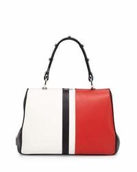 Prada Baiadera Arcade Stripe Leather Satchel Bag Whiteredblack