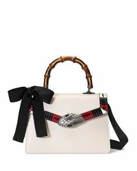Lilith leather top handle satchel bag whiteredblack medium 879598