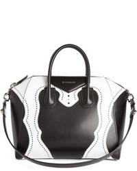 Givenchy Medium Antigona Brogue Two Tone Leather Satchel Black