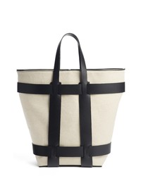 Paco Rabanne Cage Leather Canvas Northsouth Tote