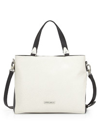 Charles Jourdan Venus Snake Embossed Tote Bag Blackwhite