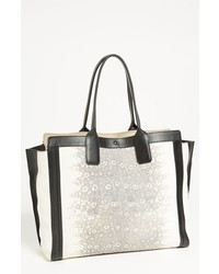 Chloé Chloe Alison Lizard Printed Leather Tote Black White