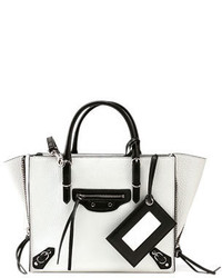 Balenciaga Papier A6 Zip Around Tote Bag Whiteblack