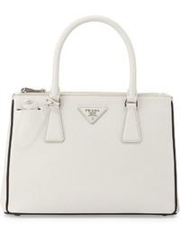 Prada Saffiano Lux Double Zip Tote Bag Whiteblack