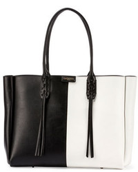 Lanvin Small Bicolor Leather Shopper Tote Bag Blackwhite