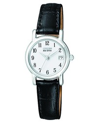 Citizen Ew1270 06a Eco Drive Stainless Steel And Black Leather Watch