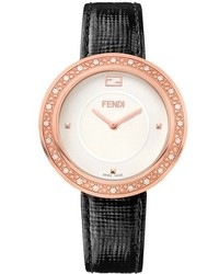 Fendi My Way Genuine Fox Fur Diamond Bezel Leather Strap Watch 36mm