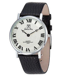 Valentino Rudy Round Face Leather Strap Watch