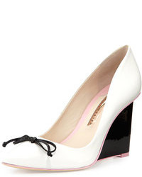 Sophia lola leather wedge pump whiteblack medium 74712