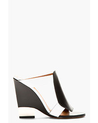 Black white leather wedge sandals medium 38229