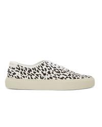 Saint Laurent White And Black Leopard Venice Sneakers