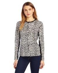 Sofie 100% Cashmere Animal Print Long Sleeve Crew Neck Sweater