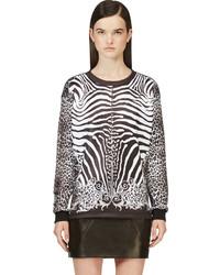 Balmain Black White Animal Print Pullover