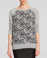 Bloomingdale's C By Cheetah Silk Front Cashmere Sweater