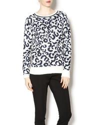 John & Jenn Snow Leopard Print Sweater