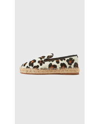 White and Black Leopard Espadrilles