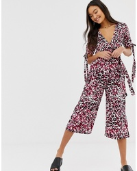 QED London Jumpsuit In Pink Animal Print