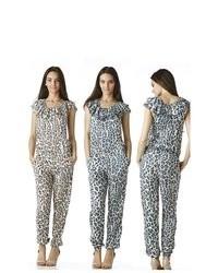 Stanzino Animal Print Ruffled Jumpsuit