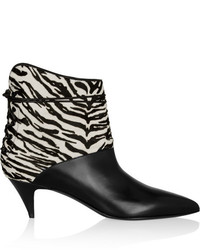 Cat zebra print calf hair and leather ankle boots medium 143959