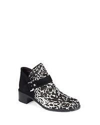 95a7cc16797e Stuart Weitzman Dude Animal Print Calf Hair Suede Ankle Boots Black White