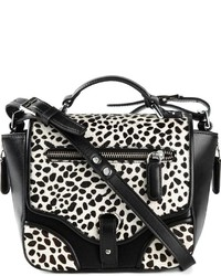White and Black Leopard Leather Crossbody Bag