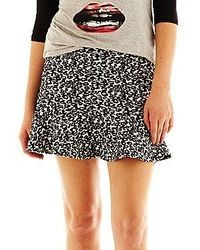 White and Black Leopard Mini Skirt