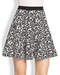 Rebecca Taylor Leopard Print Stretch Knit Skirt