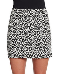 Tibi Leopard Print Knit Pencil Mini Skirt
