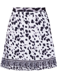 Versus Versace Pleated Leopard Print Crepe Mini Skirt