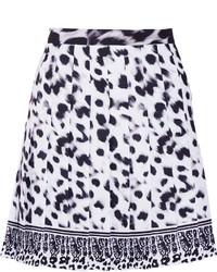 Versus Versace Pleated Leopard Print Crepe Mini Skirt