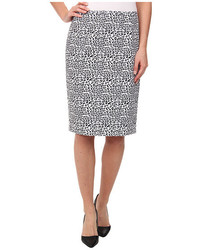 White and Black Leopard Pencil Skirt