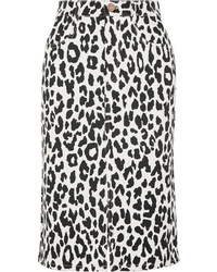 See by Chloe Leopard Print Denim Midi Skirt
