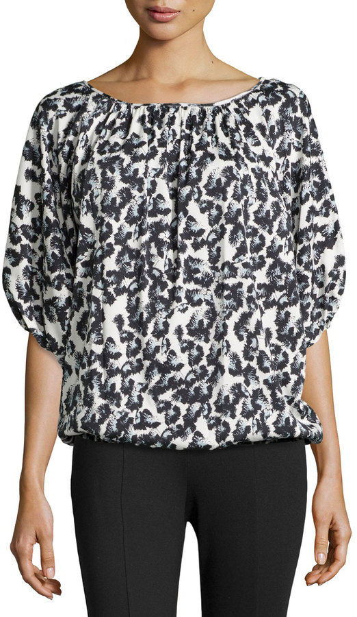 6fee43871d1bc ... White and Black Leopard Short Sleeve Blouses Catherine Malandrino  Catherine Jonathan Short Sleeve Animal Print Blouse Blackwhite ...
