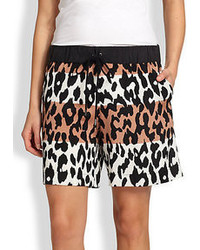 Derek Lam 10 Crosby Stretch Silk Colorblock Leopard Print Shorts