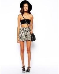 Asos Culotte Shorts In Leopard Print